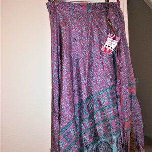 Recycled Silk Sari Godess Ankle 26W Purp and Blue